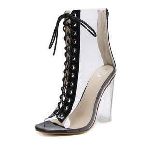 2020 Summer Plus Size Women's Ankle Boots PVC Transparent High Heels Rain Boots Women Shoes Spring Autumn Peep Toe Botas Mujer