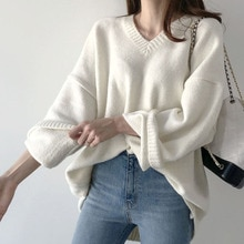 Sweater Womens 2021 Autumn Winter New V-neck Solid Color Long Sleeve Pullover Korean Fashion Casual