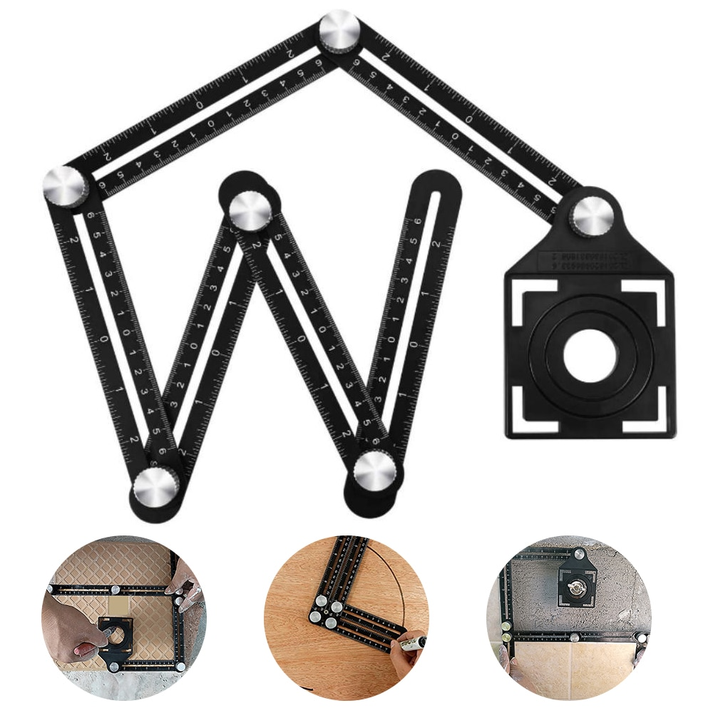 Localizzatore di fori per piastrelle di ceramica regolabile righello pieghevole righello multi-angolo guida per trapano calibro per lavorazione del legno righello per diapositive strumenti di misurazione