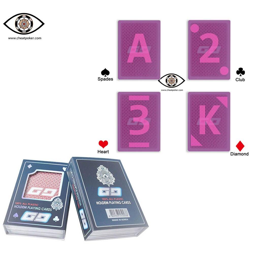 Las cartas marcadas para lentes de contacto coreano GG de plástico Invisible luminosa tinta marcado poker espectáculo De Magia marcado anti Trampa poker