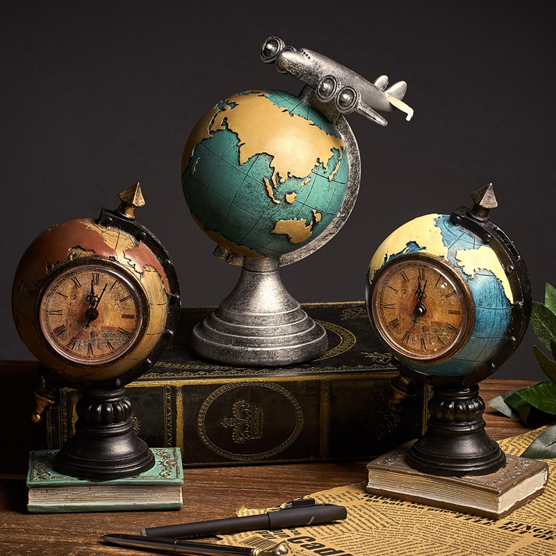 Retro reloj de globo terráqueo decoración del hogar Sala Oficina cafetería artesanía nostálgica escritorio pantalla decoración de boda regalo