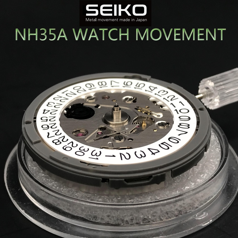 Original Japan Mechanical Movement 24 Jewels With White Date NH35 NH35A Automatic Mechanism For Luxury Brand Watch 4R35 Movement enlarge
