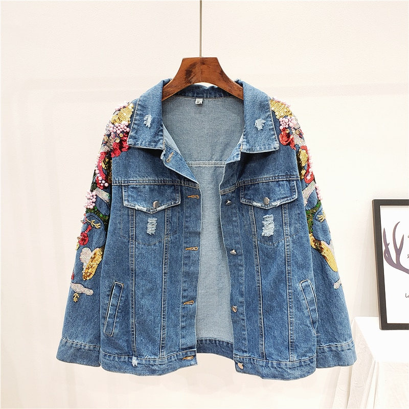 Harajuku-جاكيت جينز أزرق مطرز بالترتر ، جاكيت نسائي بفتحات مكسورة ، فضفاض ، مقاس كبير ، ملابس الشارع ، الربيع