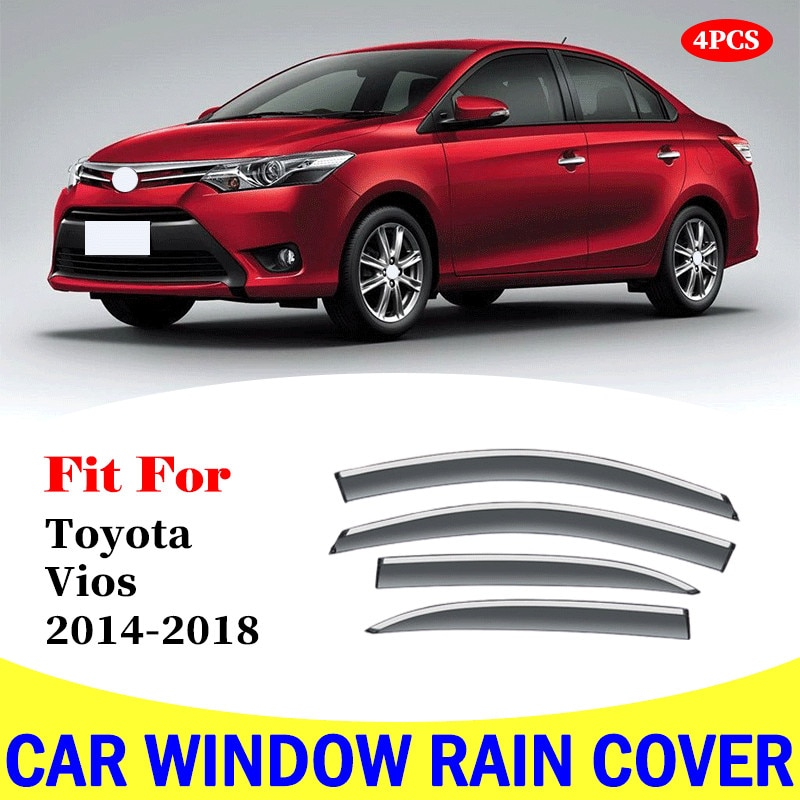 Car Accessories For Toyota Vios 2014-2018 window rain cover Visor Covers Vent Shade Rain Sun Guard Deflector Awnings Shelters