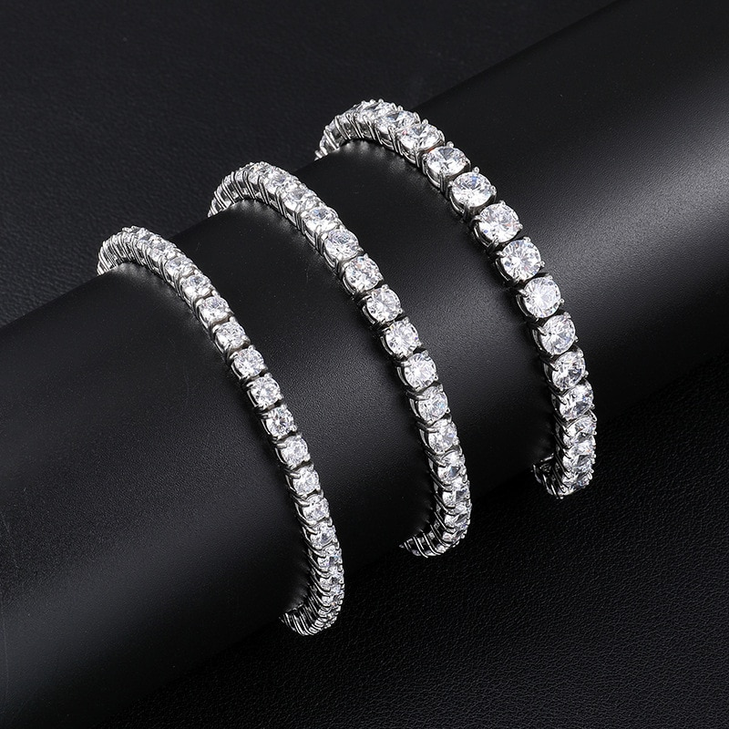 OTIY 925 Silver 3mm Tennis Bracelet Chain VVS D Moissanite Tarnish Free Women Anklet