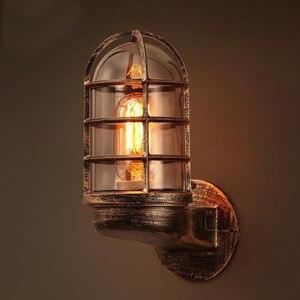 LOFT Retro Industrial Style Corner Birdcage Wall Lamp American Country Bar Aisle Corridor Glass Wrought Iron Wall Lamp