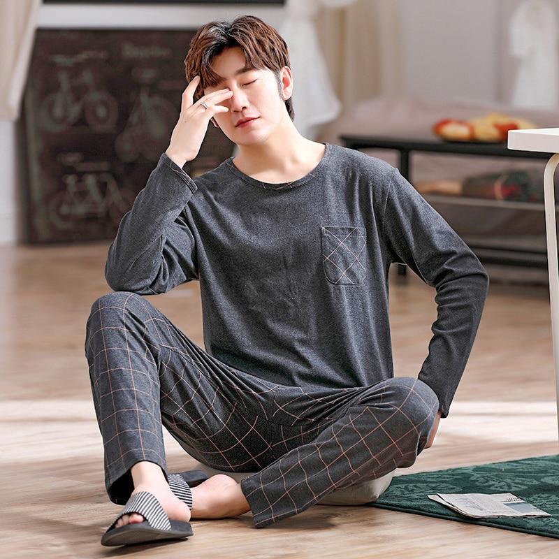 Autumn Men's Pure Full Cotton Pajamas Plaid Sleepwear Plus Size L-4XL Pajama Sets Casual Sleep&Loung