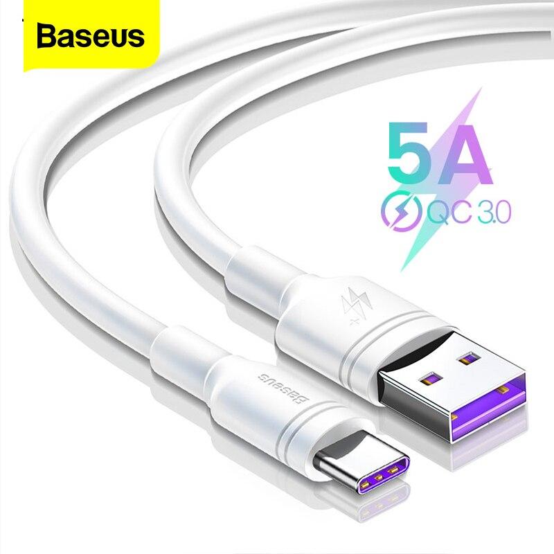 Cable USB tipo C Baseus 5A para Huawei Mate 30 20 P30 P20 P10 Pro Lite P Cable inteligente USBC tipo-c Cable de carga rápida USB-C cargador