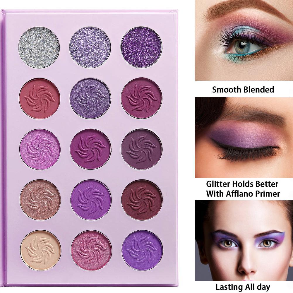 Paleta de sombras de ojos Dream, púrpura, azul, 15 colores, mate, brillo, Maquillaje sombra de ojos de teatro, polvo impermeable