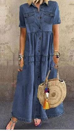 Vestido vaquero verano denim dos bolsillos manga corta giro-abajo collar de camisa...