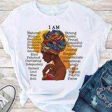I am melanin queen graphic tees women afro american black girl magic t-shirt black vita materia camicia dope educated BLM t shirt