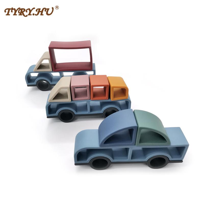 TYRY.HU 3sets Car Building Block Silicone Teether Soft Jenga 3D Folding Educational Game Toys Stacking Car Block Toy BPA Free