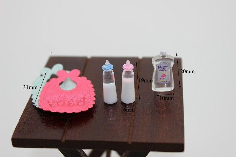 5 unids/set botellas de leche botellas de champú Baberos de bebé botellas de Barbie 112 casa de muñecas miniatura accesorio de guardería regalo