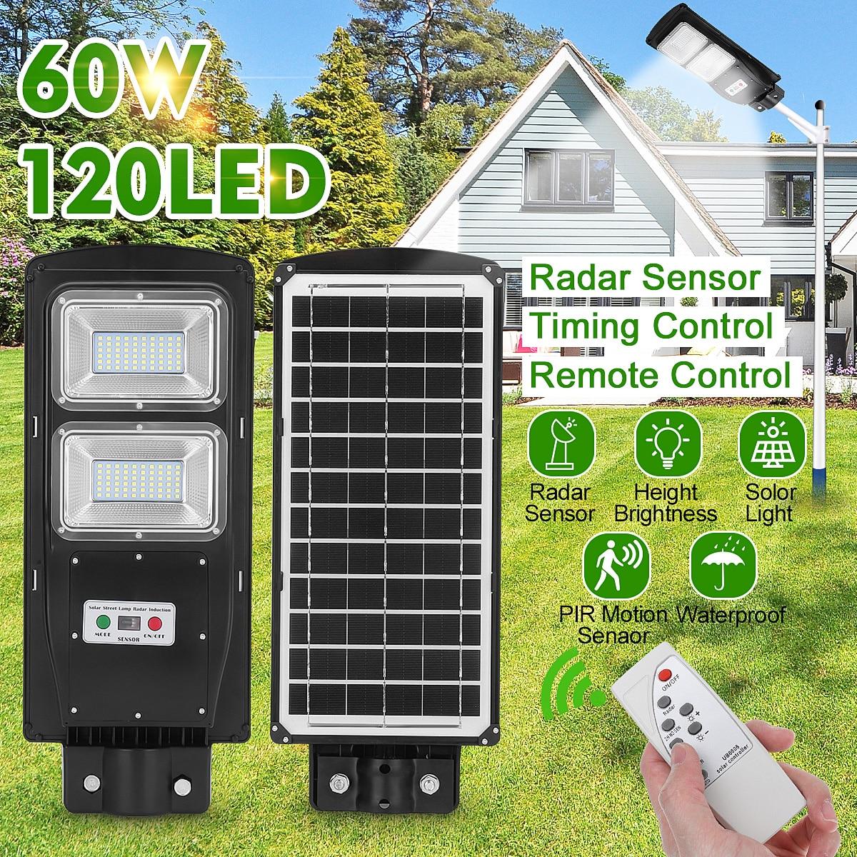 90W LED Solar Street Light 60W Wall Garden Lights Waterproof Outdoor Lighting with Remote Dusk to Dawn PIR Motion Sensor enlarge