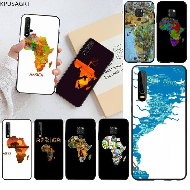 KPUSAGRT Africa Map Geography Painted Shell Phone Case for Huawei P40 P30 P20 lite Pro Mate 30 20 Pr