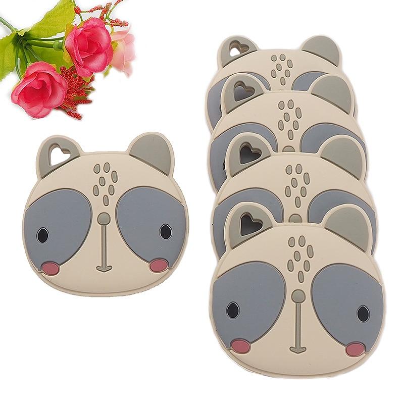 Chenkai 5 шт. BPA Бесплатно Силиконовые Прорезыватели Для большого лица кошки сенсорный жевательный успокоитель DIY детское ожерелье кулон прорез...