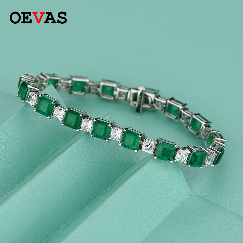 Promo OEVAS 100% 925 Sterling Square Synthetic Emerald High Carbon Diamond Bridal Bracelet Sparkling Wedding Party Fine Jewelry Gifts
