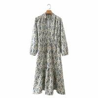 summer women vintage paisley printing midi dress female nine quarter sleeve clothes leisure lady loose vestido d8009
