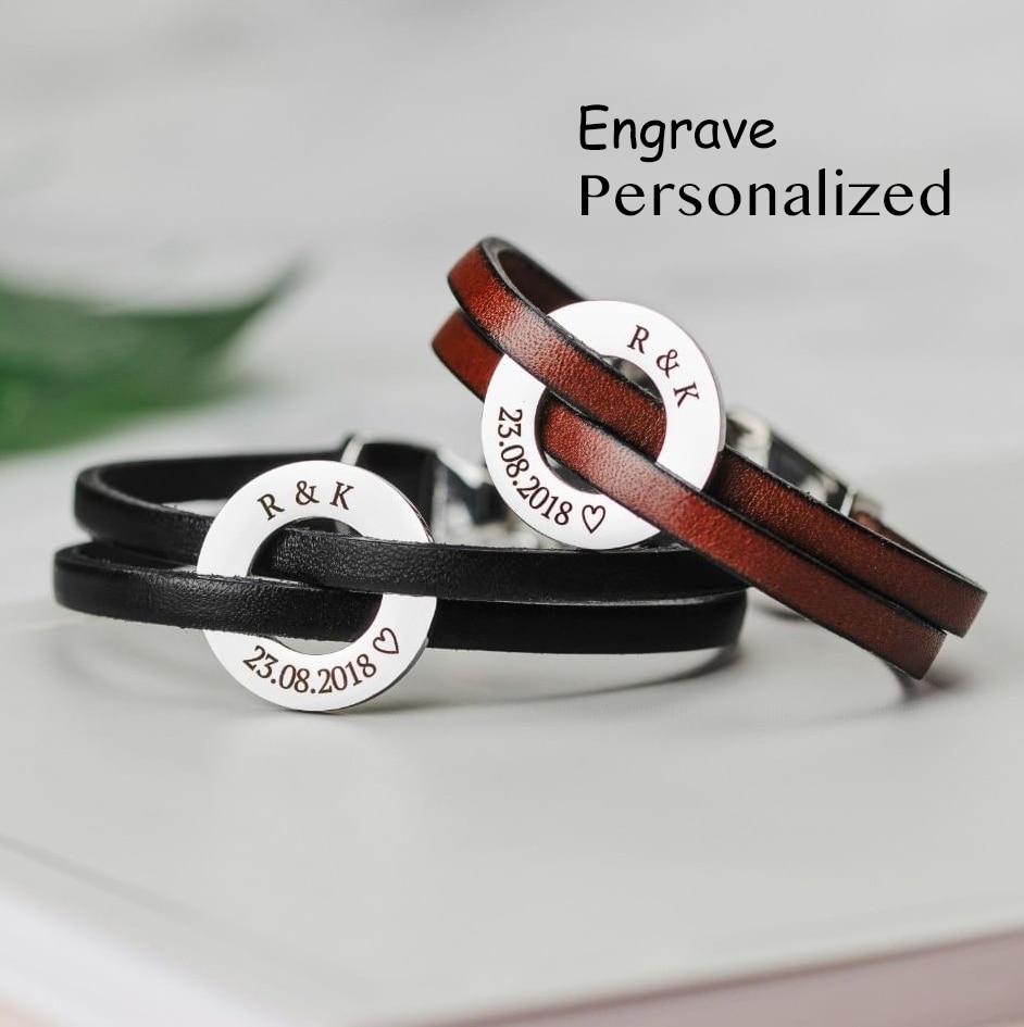 Vielzahl Block Farbe Genunie Leder Magnet Armband Kunden Name Datum Kreis Edelstahl Anhänger Schmuck SL-140
