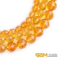 round faceted citrines beads for jewelry making strand 15 diy loose bead for bracelet necklace 8mm 10mm 12mm selectable