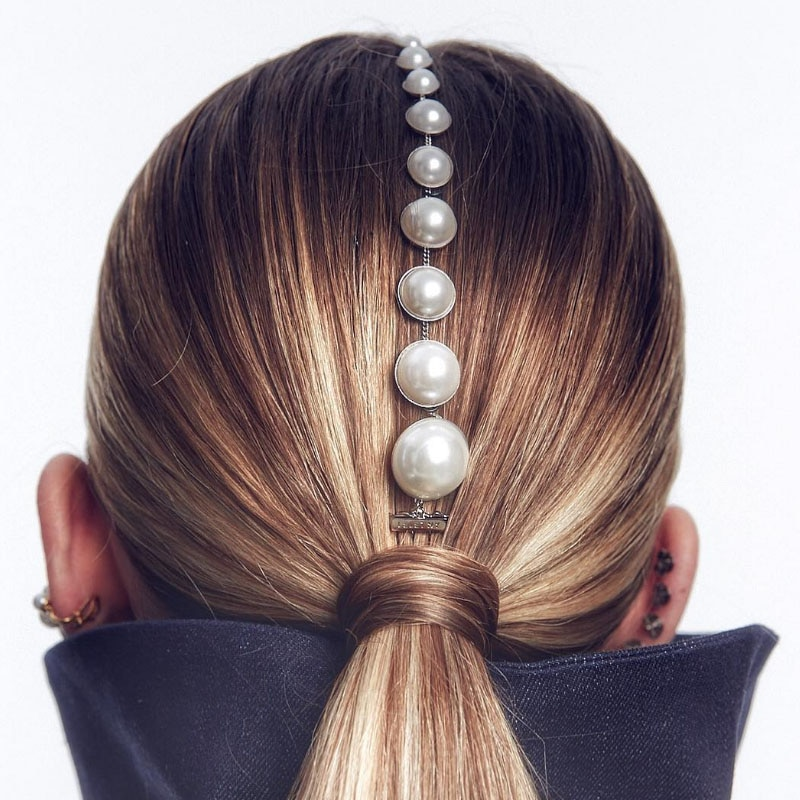 Fashion Tassel Imitation Pearl Hair Comb Barrette Hair Accessories for Women Metal Gold Head Chain Tiara Jewelry Party Headwear