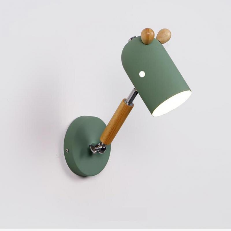Nordic Wall lights Cartoon Children's Room Bedside Lamp Modern Simple Wooden Rotatable Aisle Wooden Bedroom Lamp