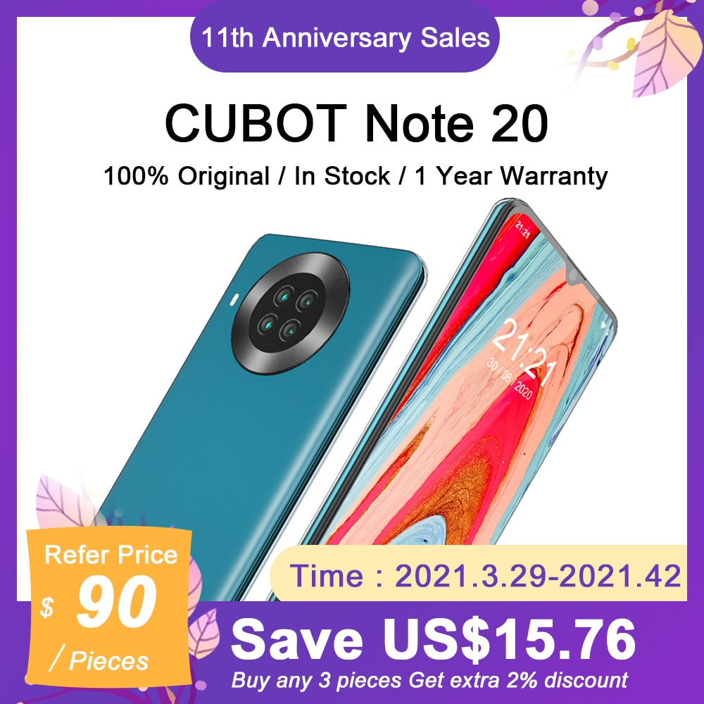 Cubot Note 20 Cellphone NFC 6.5″ HD+ Display 3GB+64GB Smartphone Rear Quad Camera Face Unlock 4200mAh Android 10.0