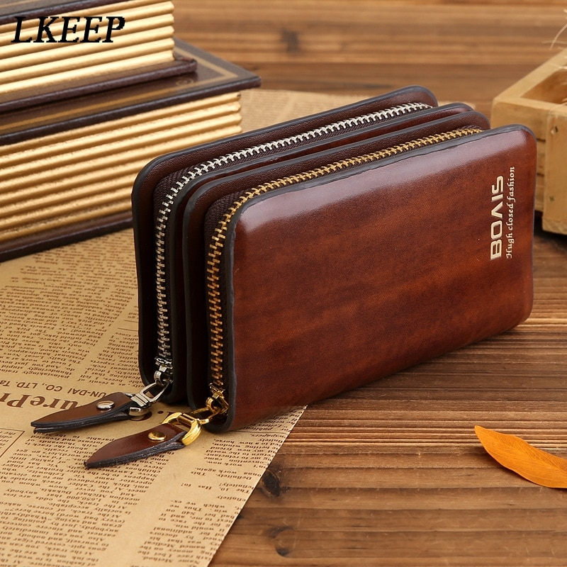 Leather Key Holder Men And Women Key Wallet Coin Purse Multifunction Fashion Housekeeper Key Bag Org