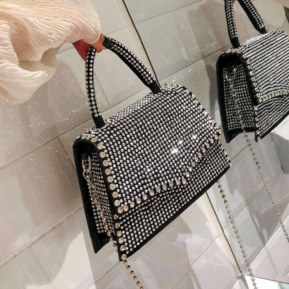Diamond Flap Small Tote Bag 2021 Summer New Quality PU Leather Women's Designer Handbag Chain Shoulder Messenger Bag Travel Bag