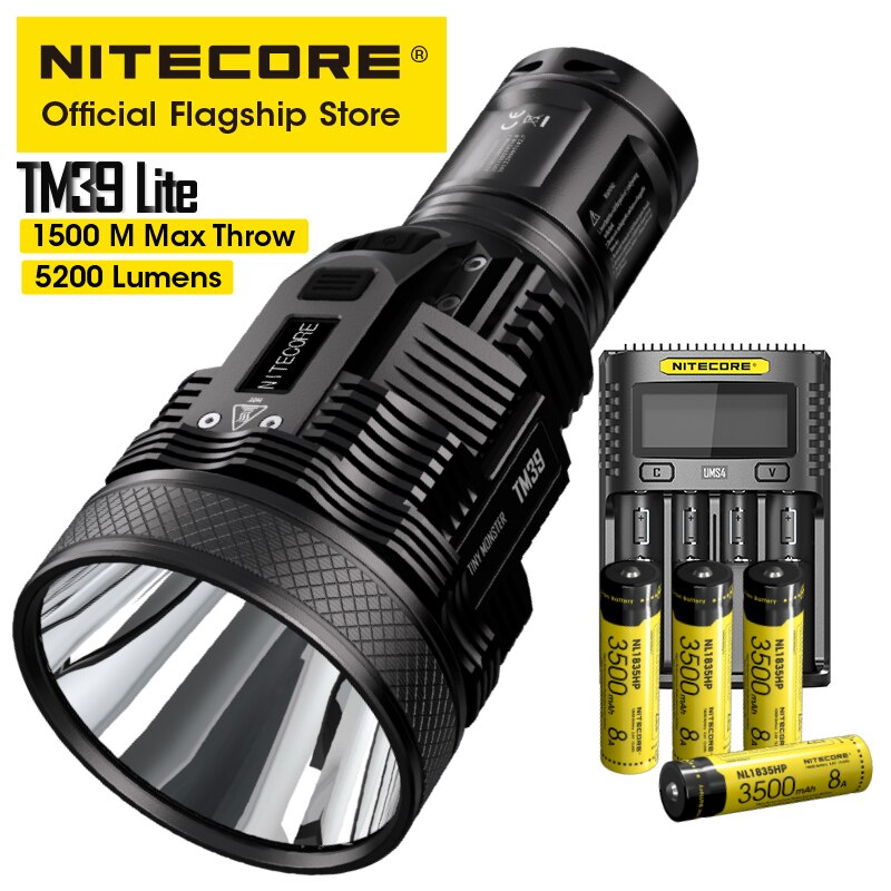 NITECORE TM39 Lite Searchlight Flashlight 5200LM Beam Throw 1500M OLED Rescue Rechargeable Torch with UMS4 Charger 4 Battery