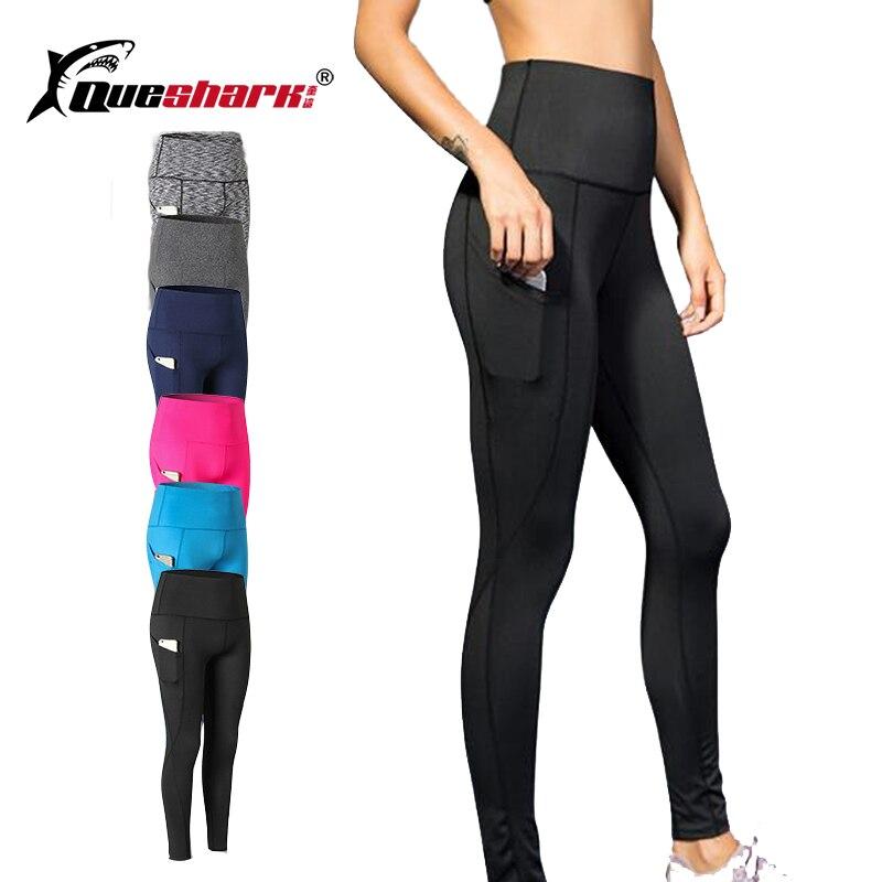 Pantalons de Yoga de sport femmes poche latérale pantalons de course de haute qualité filles noir Sexy Leggings de Yoga mince femme collants de gymnastique longs