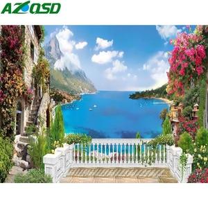 AZQSD Diamond Painting Full Square Seaside Diamond Embroidery Sale Landscape  Gift Home Decor Handmade Cross Stitch Kits
