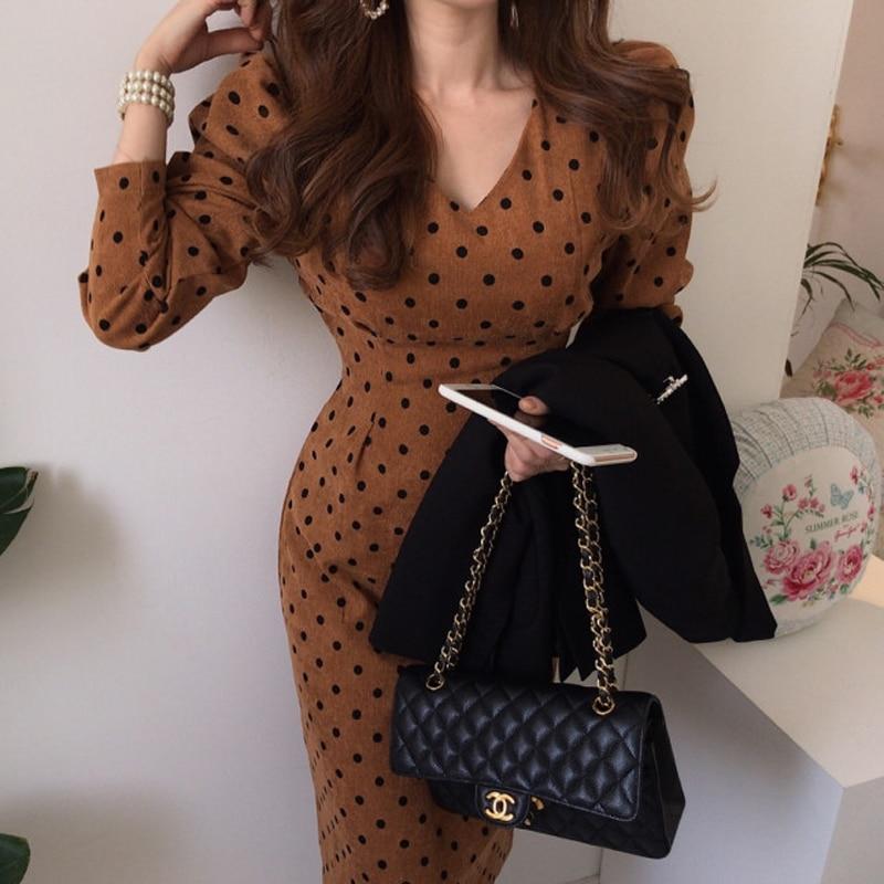 YAMDI midi Vestido Mujer casual cuello pico bodycon chic polka dot runway elegante manga larga de alta cintura primavera otoño lápiz vestido nuevo