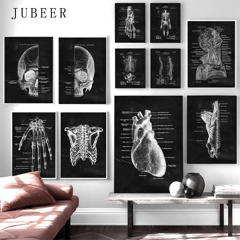 Arte de la pared de hueso del pie muscular, pintura de lienzo de esqueleto de Anatomía del corazón, carteles nórdicos e impresiones, imágenes de pared para decoración de Doctor y oficina