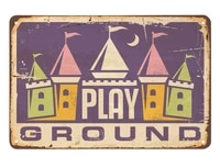 play ground tin signhome moon castle funny fortress doodle palace triangle geometric vintage metal tin signs for cafes bars