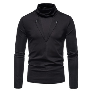 PARKLEES Black Mens Turtleneck Fake Two Pieces Casual Long Sleeve T Shirt Spring Autumn Base T-shirt Tops for Men Streetwear