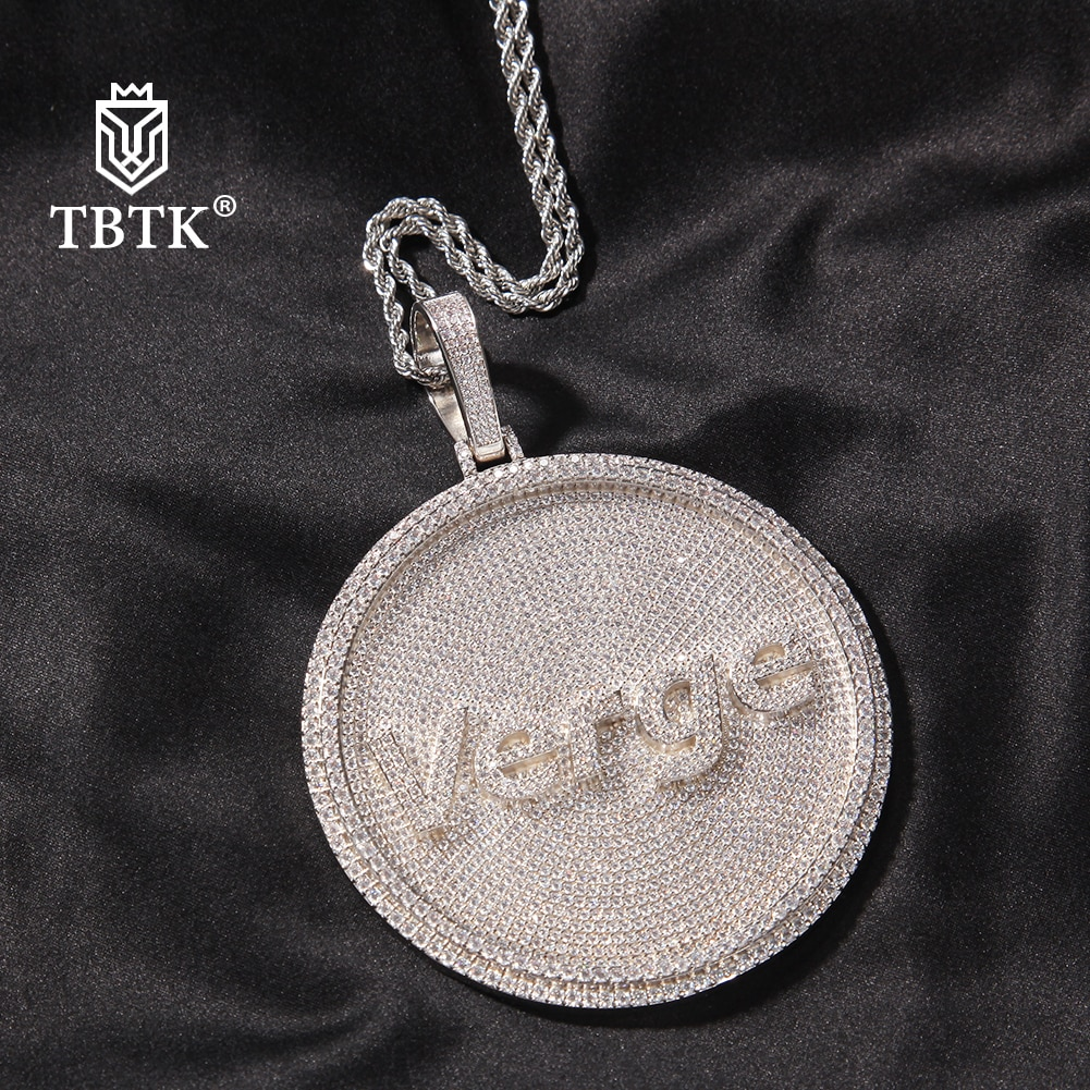 TBTK Iced Out Round Custom Any Font Letter/Logo/Symbol Pendant Necklace Paved Cubic Zircon Men Women Rapper Style Hiphop Jewelry