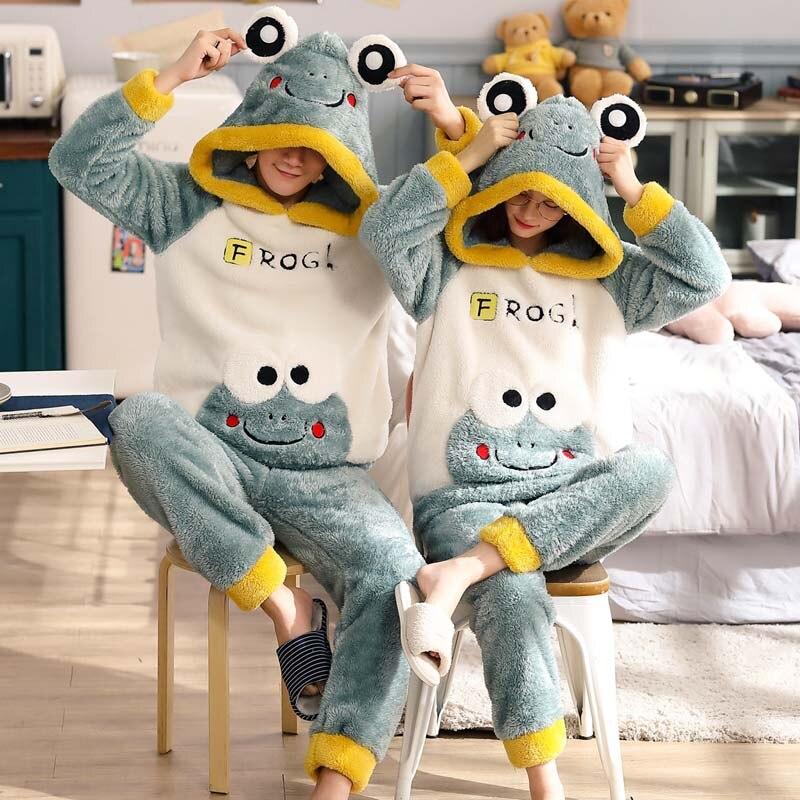 Nieuwe Winter Paar Pyjama Warm Thicken Nachtkleding Leuke Cartoon Man Thuis Kleding 2 Stuks Hooded Pyjama Set