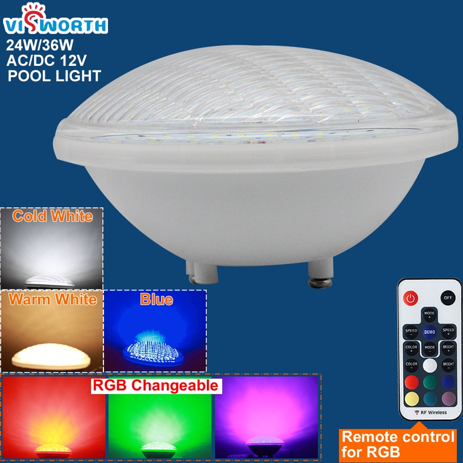 RGB Pool Light Par56 Luz Piscina 24W 36W Underwater Led Lamp Ip68 Waterproof Pond Lights 12V Led Light replace Halogen Lamp