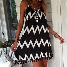 2021 Summer Women Backless Mini Dress Sexy Beach V-neck Black White Striped Sleeveless Spaghetti Str