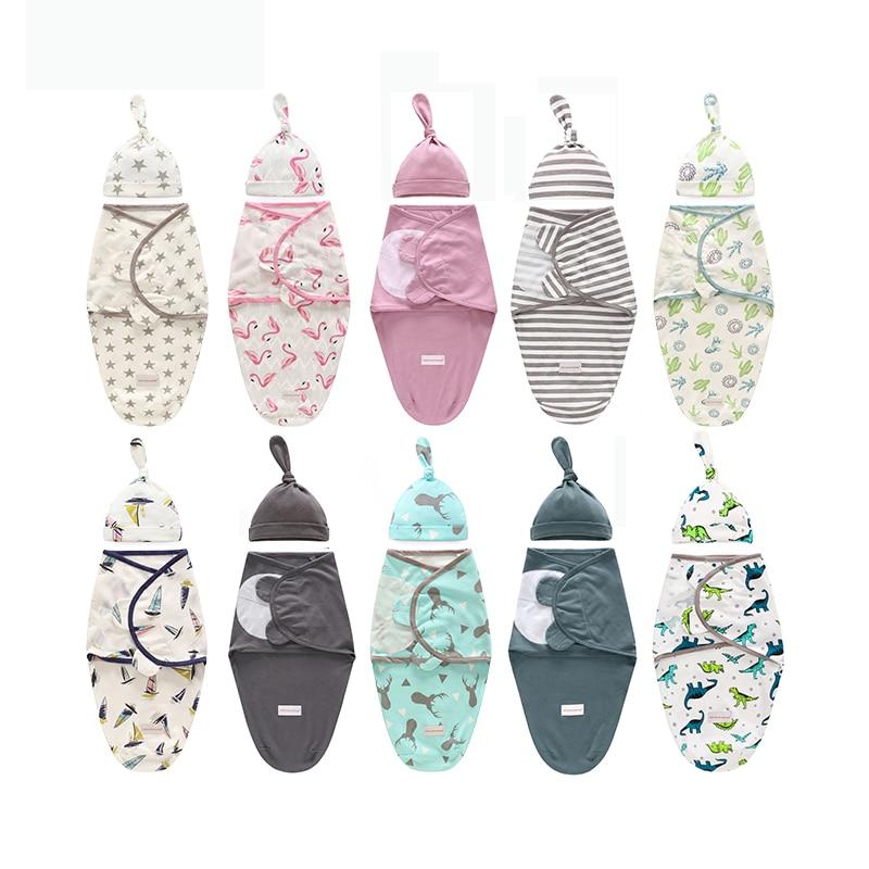 Детское Одеяло пеленка + шапочка для новорожденных Cocoon обертывание хлопковые пеленки сумка Детский конверт спальный мешок постельные принадлежности