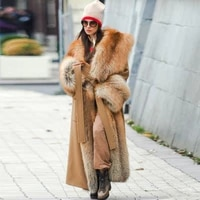 2021 womens wool coat with whole leather real fox fur collar 120cm long coats high quality luxury winter thick warm wrap coat