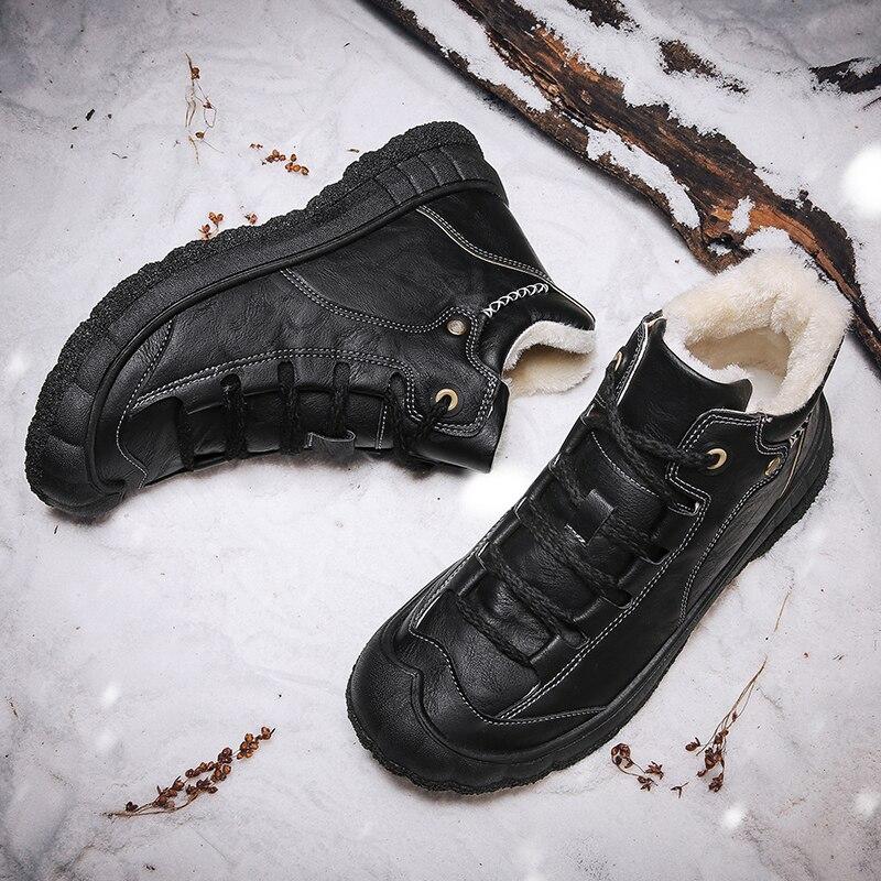Milgc you الرجال أحذية الشتاء الرجال الثلوج الأحذية مقاوم للماء التمهيد رجل الدفء الأسود أحذية رياضية من الجلد الذكور الفاخرة الكاحل بوتاس 2021