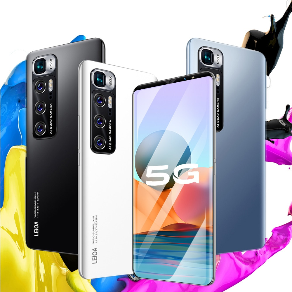 Note 10 Smartphone Android 6GB+128GB 4G/5G Unlock Game Cell Phones Smart Fingerprint Sensor Face ID Global Version Mobile Phones