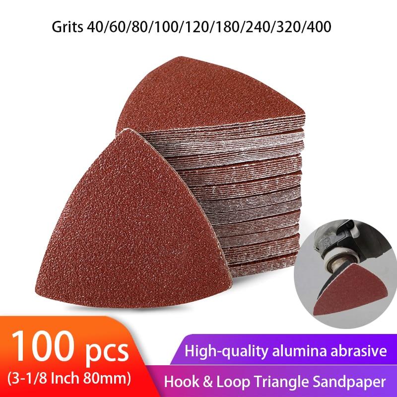 100pcs Triangular Sandpaper Hook & Loop Triangle Sanding Sheets Fit 3-1/8 Inch Oscillating Multi Tool Sanding Pad 40-400 Grit