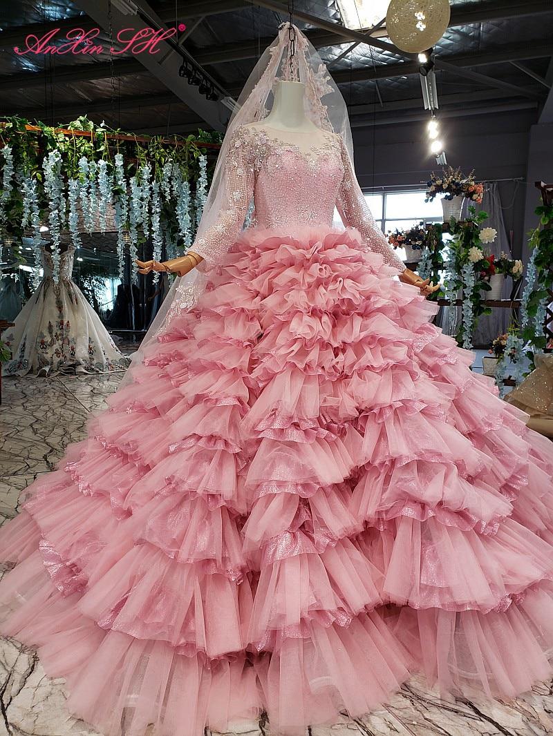 AnXin SH الفاخرة الأميرة زهرة الوردي الدانتيل يا الرقبة الديكور كريستال الوهم كم طويل سباركلي فستان الزفاف 100% ريال صور