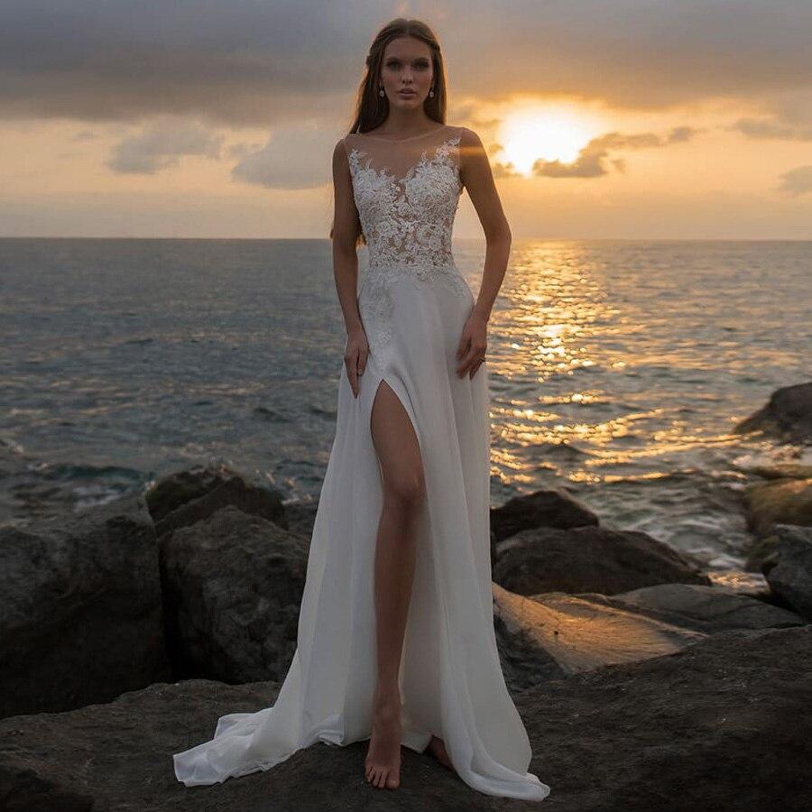 شاطئ بوهو فساتين الزفاف شير سكوب الرقبة بلا أكمام انظر من خلال زين سبليت الشيفون ثوب الزفاف الزفاف