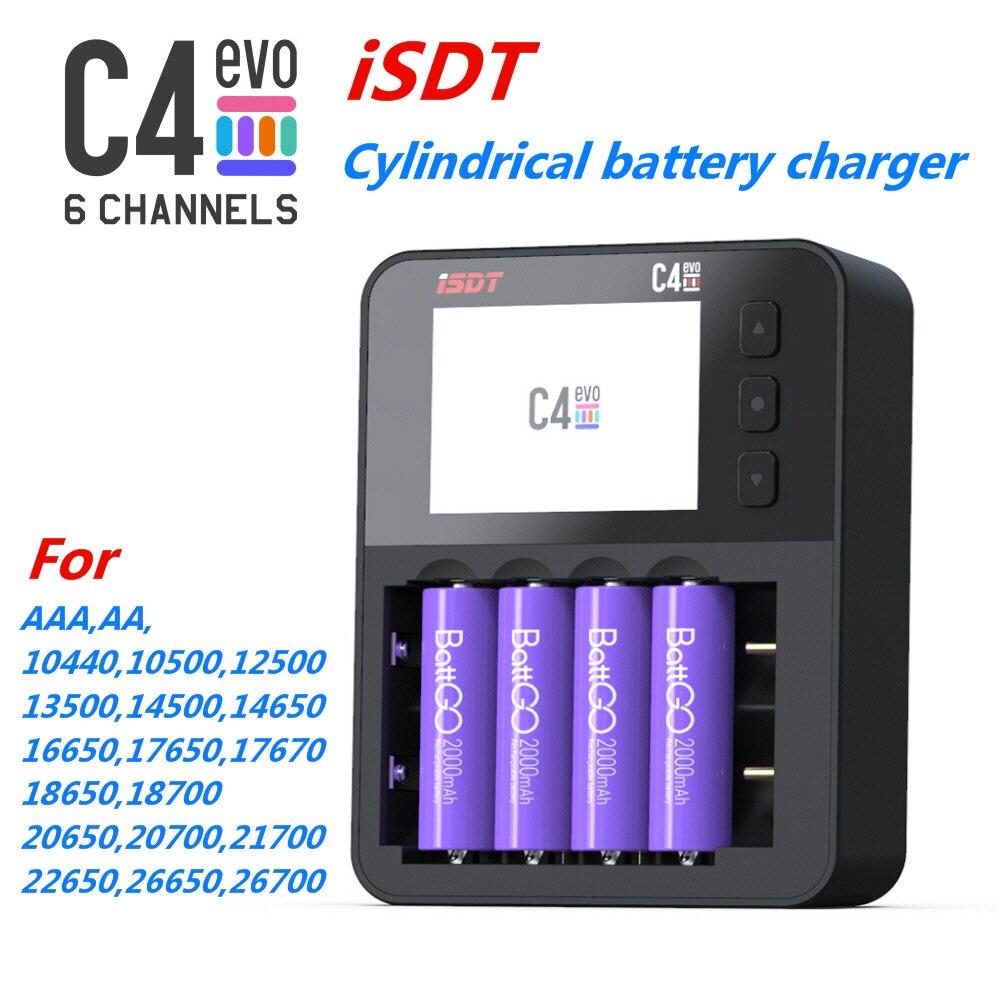 شاحن بطارية ذكي ISDT C4 EVO ، مع مخرج USB ، لبطاريات AA 18650 26650 RC