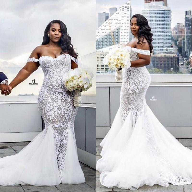 Luxury African Plus Size Wedding Mermaid 2022 Vestidos De Mariage Black Girl Lace Off the Shoulder Bride Gowns New