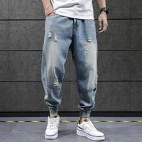 2020 new hip hop harem jeans pants men loose joggers denim casual sweatpants korea ankle length trousers streetwear